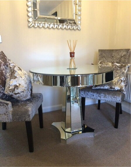Mirrored glass dining table with 2 mink crushed velvet  : 86 from www.gumtree.com size 448 x 574 jpeg 47kB