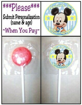 24 Baby Mickey Mouse Birthday Party Shower Lollipop Stickers Invitation - Baby Mickey Mouse Birthday