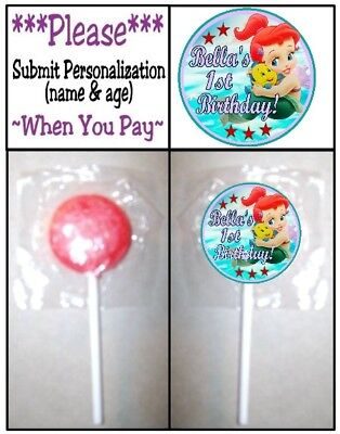 24 Baby Little Mermaid Birthday Party Shower Lollipop Stickers Princess Ariel (New Little Princess Baby Shower)