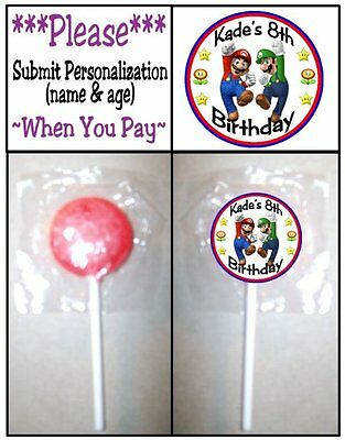 24 Super Mario Brothers Birthday Party Lollipop Sticker Invitation Seal Play - Play Doh Birthday Party