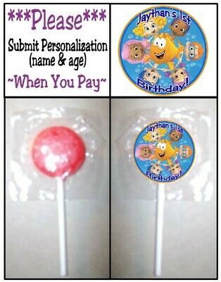 Bubble Guppie Party (24 Bubble Guppies Birthday Party Baby Shower Round Lollipop Stickers)