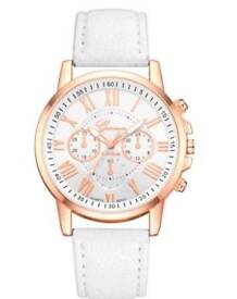 New Ladies Geneva Analog Quartz PU Leather Wrist Watch White