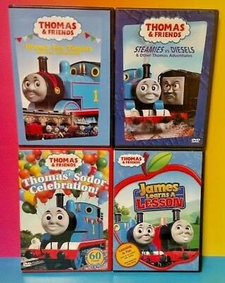 Thomas Train Lot of 4 DVD Movies Lot - Hooray Sodor Lesson Steamies vs Diesels