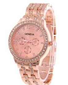 New Mens Geneva Stainless Steel Fashion Diamond Watch Rose