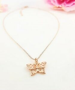 14k Rose Gold Plated Butterfly Necklace
