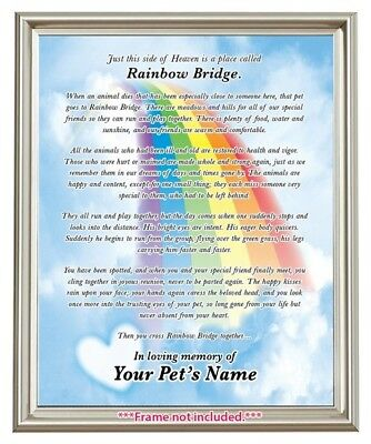 Rainbow Bridge Pet Loss MEMORIAL POEM Dog Cat Personalized 8x10 Memory GIFT