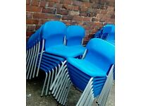Blue school style chairs. Can deliver.