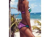 Beautiful purple & mint & white colour 2pcs bikini swimwear size 6 - 8 NEW