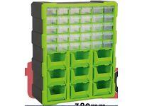 SET OF TWO SEALEY APDC39HV STORAGE CABINET BOX 39 DRAWER - HI-VIS GREEN/BLACK
