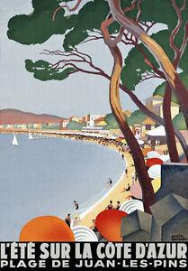 TT50-Vintage-Cote-DAzur-French-Riviera-Travel-Poster-A3-A2-Re-Print