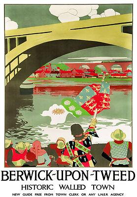 Vintage Railway Advertising  rail travel poster  A4 RE PRINT Berwick upon Tweed