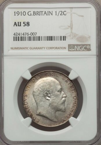 GREAT BRITAIN EDWARD VII 1910 HALF-CROWN ALMOST UNCIRCULATED CERTIFIED NGC AU-58