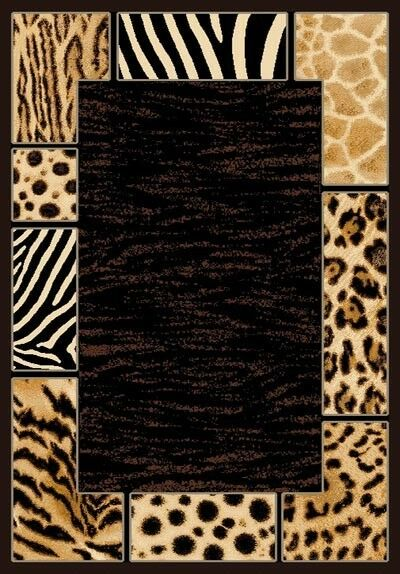 6' X 8' AFRICAN SAFARI ANIMAL SKINS PRINT BORDER HIGH QUALITY DENSITY AREA RUG