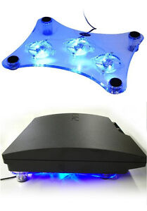 USB Blue LED Light 3-Fan Cooler Cooling Pad Stand for PS2, PS3, Laptop, Xbox 360