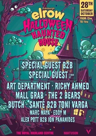 2 x tickets to Elrows Halloween Haunted House Party