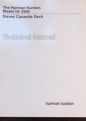 Harman Kardon hk 2500 cassette service repair workshop manual (original copy)