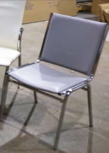 Mint Condition Stackable Metal & Gray Vinyl Chairs (T)