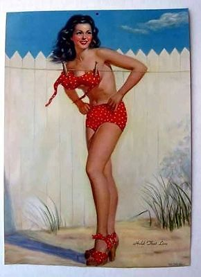 Laundry Line Girl (1950s Pin Up Girl Picture Brunette Behind Laundry Line by M Miller )