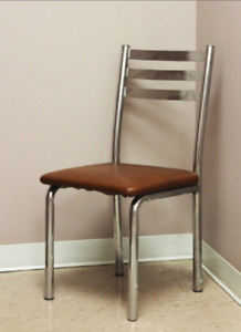 Mint Condition Metal & Brown Faux Leather Chairs (T)