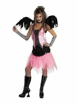 Gothic Pink Graveyard Fairy Costume Black Wings Glovettes Goth Teen Junior 7-9