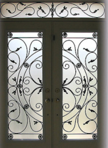 Decorative Door Glass Inserts, Wrought Iron, Stained Glass