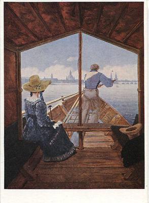 Alte Kunstpostkarte - Carl Gustav Carus - Kahnfahrt auf der Elbe
