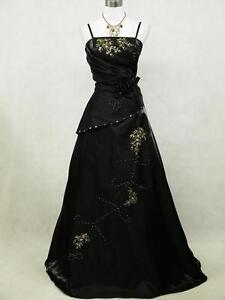 Cherlone Plus Size Satin Black Long Prom Ball Gown Wedding/Evening Dress 22-24