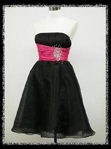 dress190-CLEARANCE-NEW-BLACK-PINK-JEWELLED-STRAPLESS-PARTY-PROM-COCKTAIL-DRESS