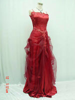 New Satin Red Ballgown Prom Bridesmaid Formal Wedding/Evening Dr