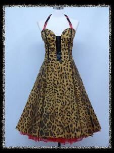 dress190-LEOPARD-PRINT-CHIFFON-50s-HALTER-CORSET-ROCKABILLY-SWING-VINTAGE-DRESS
