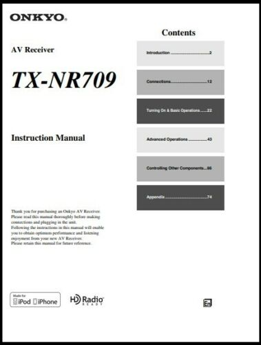 Onkyo TX-NR709 AV Receiver  Owner