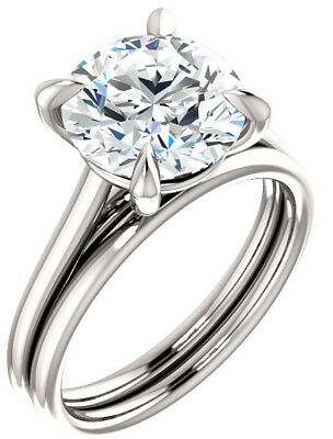 GIA 3 carat Round Diamond Engagement Solitaire 14k White Gold Ring G SI2 clarity