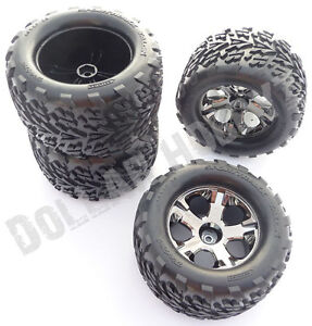 Traxxas-Stampede-4x4-VXL-4-TIRES-WHEELS-12mm-Hex-nuts-axles-rim-6708