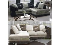 **14-DAY MONEY BACK GUARANTEE!** Serene Luxury Crushed Velvet Corner Suite - SAME DAY DELIVERY!