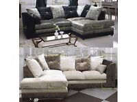 **14-DAY MONEY BACK GUARANTEE!!** Serene Luxury Velvet Corner Sofa or 3 and 2 - SAME DAY DELIVERY!
