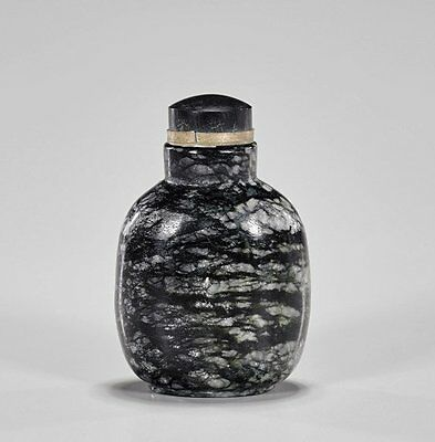 Antique Black Hard Stone Chinese Snowflake Obsidian Snuff Bottle