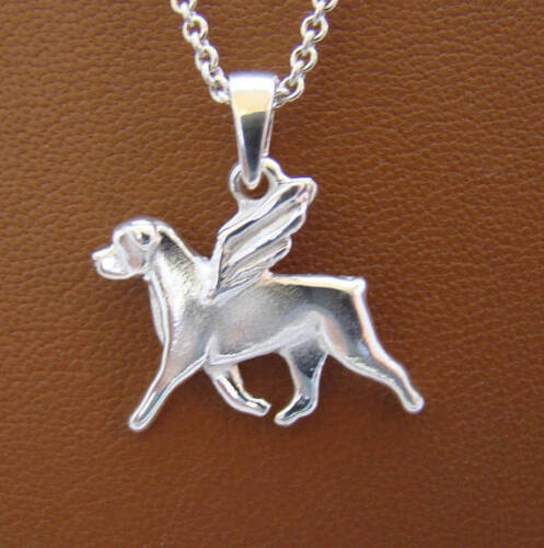 Small Sterling Silver Rottweiler Angel Pendant