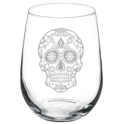 Sugar Candy Skull Stemmed 10oz / 20oz / Stemless Wine Glass - Sugar Skull Wine Glass