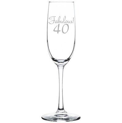 Stemless Flute Glass - Champagne Sparkling Wine Flute Glass Stemmed Stemless Fabulous 40 40th Birthday