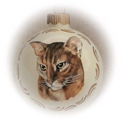 Custom cat portrait painting - memorial pet portrait 3,25 in Christmas - In Memory Christmas Ornaments