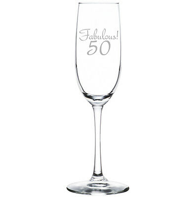 Stemless Flute Glass - Champagne Sparkling Wine Flute Glass Stemmed Stemless Fabulous 50 50th Birthday