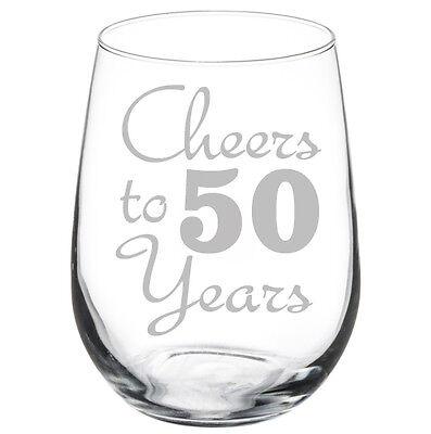 Cheers to 50 Years Anniversary 50th Birthday Gift Wine - 50th Birthday Wine Glass