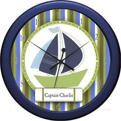 Personalized Nautica  Boy Nursery  Bedding Wall Clock Gift Kids Nautical