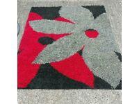 Modern red black and grey shaggy rug 170cm x 120cm