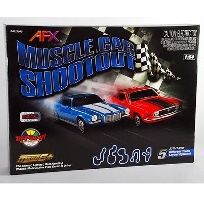 AFX Muscle Car Mustang/Camaro Shootout HO Slot Car Set w/Tri-Power & Lap Counter