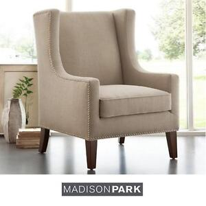 NEW* MADISON PARK WING BACK CHAIR - 117708666 - LINEN SILVER NAILHEAD POLYESTER FARBIC FURNITURE CHAIRS SEATING SEAT ...