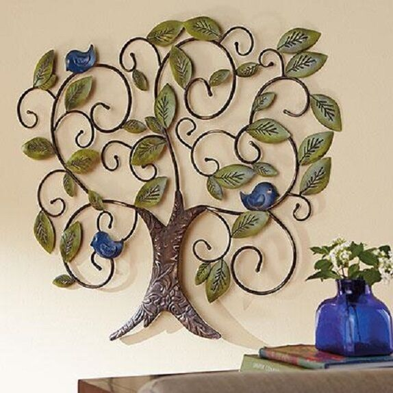 Bluebird Adorned Metal Tree of Life Art Wall Hang Handcrafted Large 35.5″ Nature Crafts