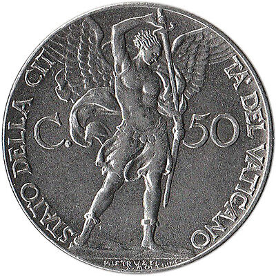 1941 Vatican City 50 Centesimi Coin Archangel Michael KM#25a Mintage 180,000
