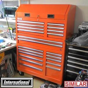 """NEW INTERNATIONAL 42"""" TOOLBOX CHEST RED 20 DRAWERS MOBILE TOOLBOXES TOOL STORAGE CABINET CHESTS GARAGE GARAGES"""