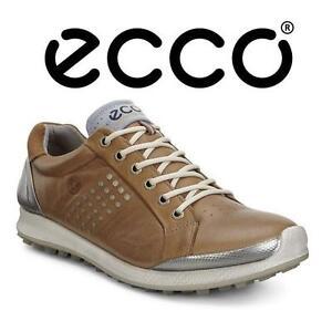 NEW ECCO GOLF SHOES MEN'S 9-9.5 - 116551550 - MEN'S 9 MEN'S 9.5 - CAMEL OYESTER - UPPER YAK LEATHER